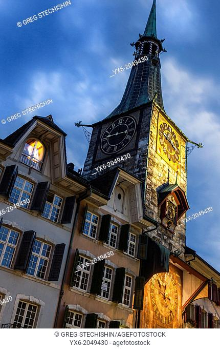 A major landmark in the city of Solothurn, Switzerland. It was built in 1467 and in 1545 the astronomic clock dial was added by Lorenz Liechti and Joachim...