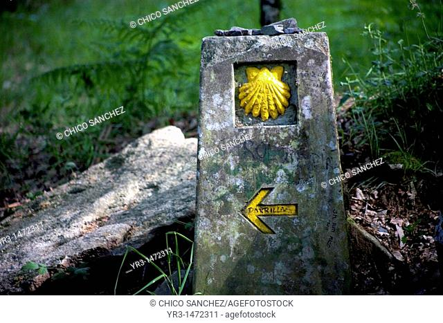 A boundary stone decorated with a yellow scallop shell and an arrow arrow pointing left is displayed in the French Way that leads to Santiago, in Galicia region