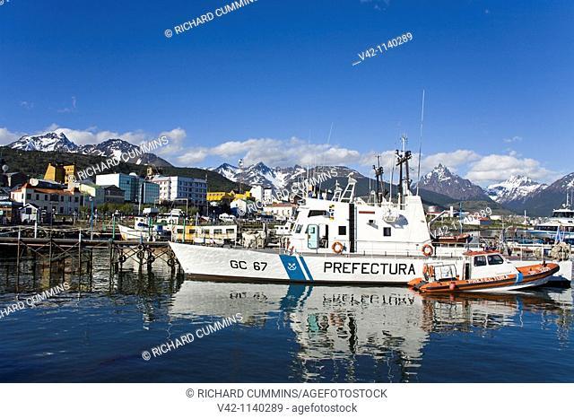 Argentinian Coastguard ships in Ushuaia, Tierra del Fuego, Patagonia, Argentina