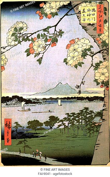 Massaki and the Suijin Grove by the Sumida River (One Hundred Famous Views of Edo). Hiroshige, Utagawa (1797-1858). Colour woodcut. The Oriental Arts