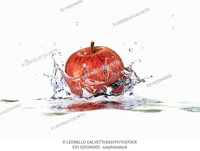 Red apple splashing into water. close up side view, with depth of field. 3 D digital rendering, on white background