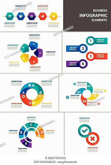 Colorful Infographic elements presentation template flat design set for brochure flyer leaflet marketing advertising set 6