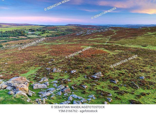 Haytor Rocks seen from Saddle Tor, Dartmoor National Park, Ilsington. Devon, England, United Kingdom, Europe