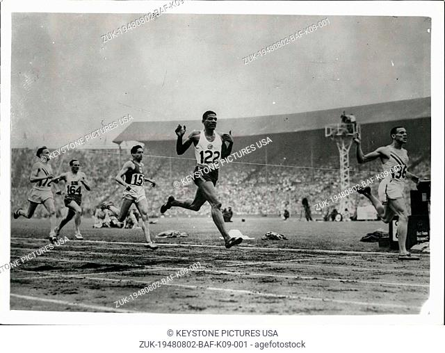 Aug. 02, 1948 - FINISH OF THE 800 METRES FINAL AT WEMBLEY. PHOTO SHOWS:- The finish of the 800 metres Olympic Games final at Wembley Stadium this afternoon
