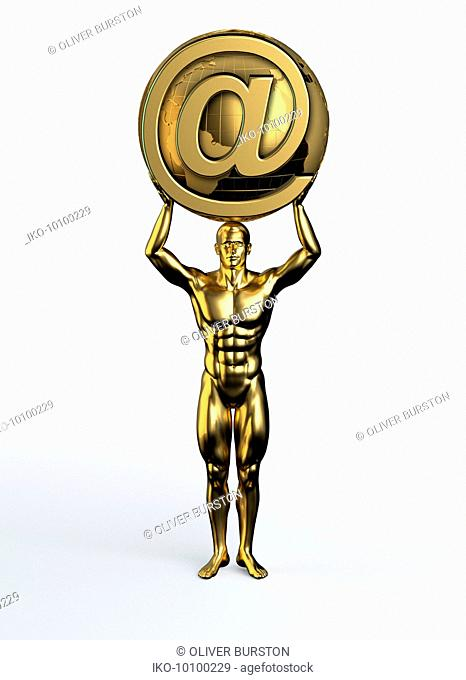 Gold statue of man holding world with internet 'at' sign above head