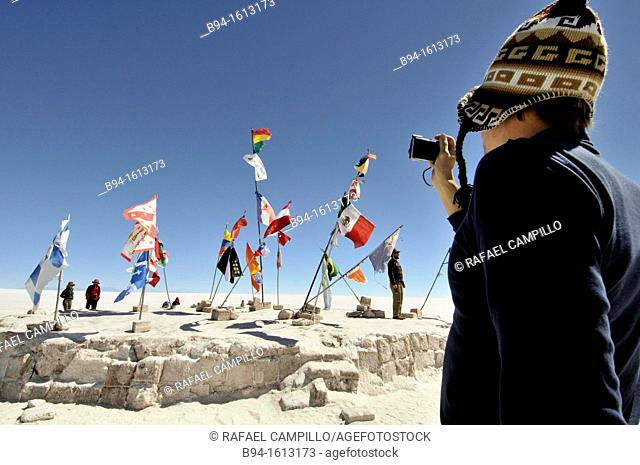 Flags. Salar de Uyuni (or Salar de Tunupa),the world's largest salt flat at 10,582 square kilometers. It is located in the Potosí and Oruro departments in...