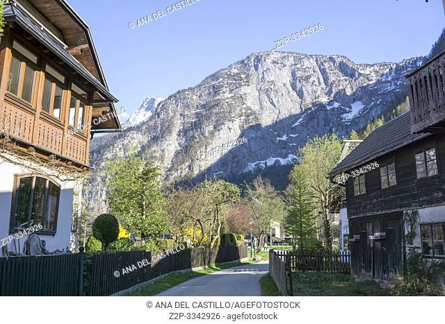 Hallstatt village and lake in Salzkammergut, Austria on April 19, 2019