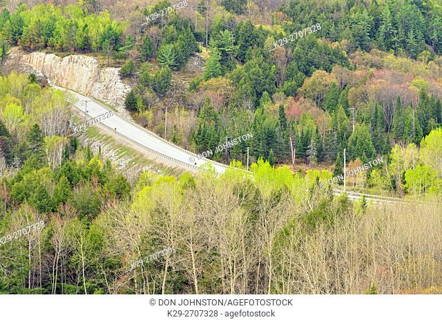 Spring foliage and Highway 6, Willisville, Ontario, Canada