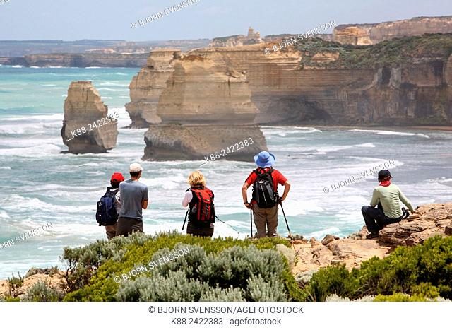 Bushwalkers along the Great Ocean Walk. Victoria, Australia