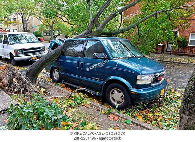 Aftermath of the tropical super storm Hurricane Sandy, Queens, New York, United States - October 30, 2012