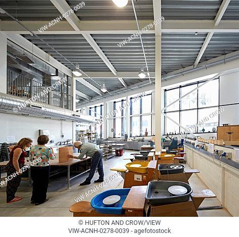 Ceramics workshop. Plymouth College of Art, Plymouth, United Kingdom. Architect: Feilden Clegg Bradley Studios LLP, 2016