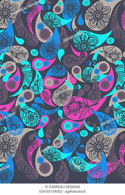 Colorful layered paisley design