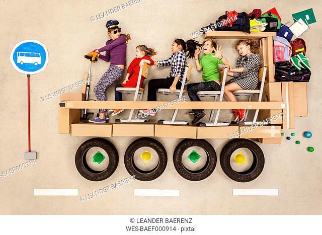 School children in school bus