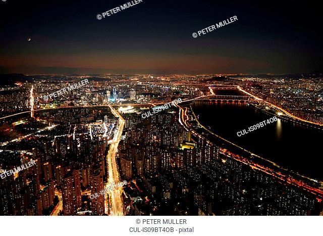 Cityscape at dusk, Seoul, South Korea
