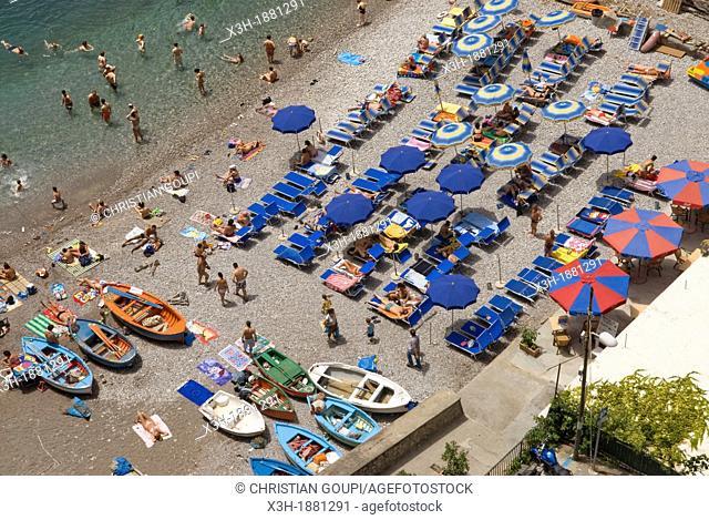 beach of Praiano, Amalfi Coast, Campania region, southern Italy, Europe