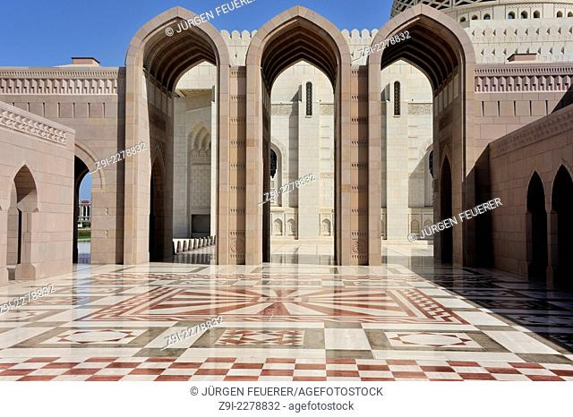 One of the portals inside the Sultan Qaboos Grand Mosque in Muscat, Oman