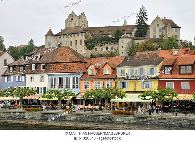 Promenade and Castle, Meersburg on Lake Constance, Baden-Wuerttemberg, Germany, Europe