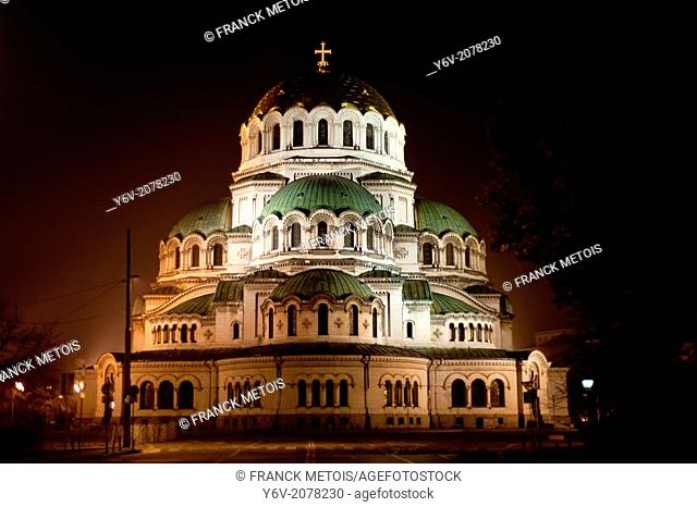 Alexander Nevsky cathedral illuminated at night. Sofia, Bulgaria