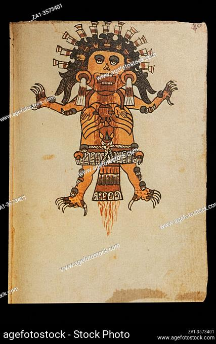 Tzitzimitl God at Codex Tudela, folio 46r, 16th-century pictorial Aztec codex. Museum of the Americas, Madrid, Spain