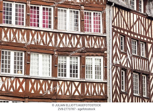 Timber framed houses in the city of Rennes in France