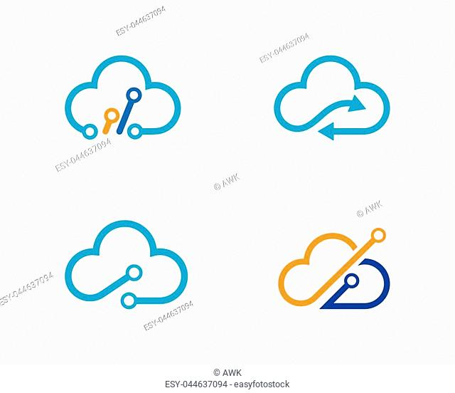 cloud technology vector logo template design vector