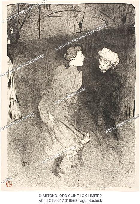 Rehearsal at the Folies-Bergère, Emilenne D'Alençon and Mariquita, 1893, Henri de Toulouse-Lautrec, French, 1864-1901, France, Lithograph on cream wove paper