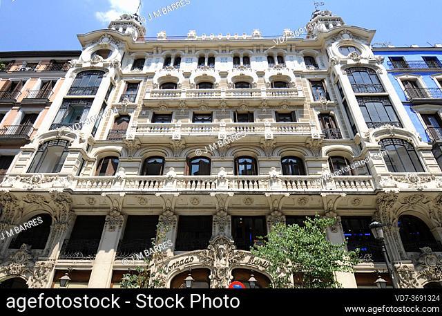 Edificio de la Compañia Colonial or Edificio Conrado Martin. Madrid city, Spain