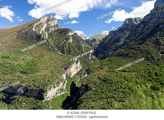 Spain, Aragon, Huesca province, Ordesa y Monte Perdido National Park, listed as World Heritage by UNESCO, the Anisclo canyon