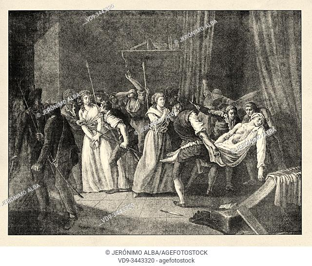 Arrest of Charlotte Corday (1768-1793) a figure of the French Revolution. History of France, old engraved illustration image from the book Histoire...