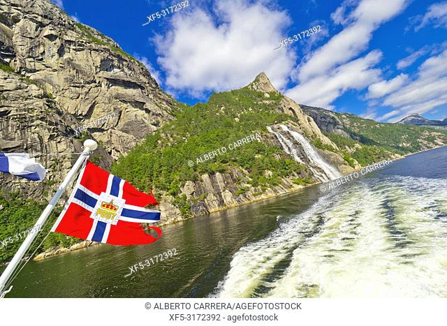 Waterfalls, Lysefjord, North Sea, Stavanger, Norway, Scandinavia, Europe