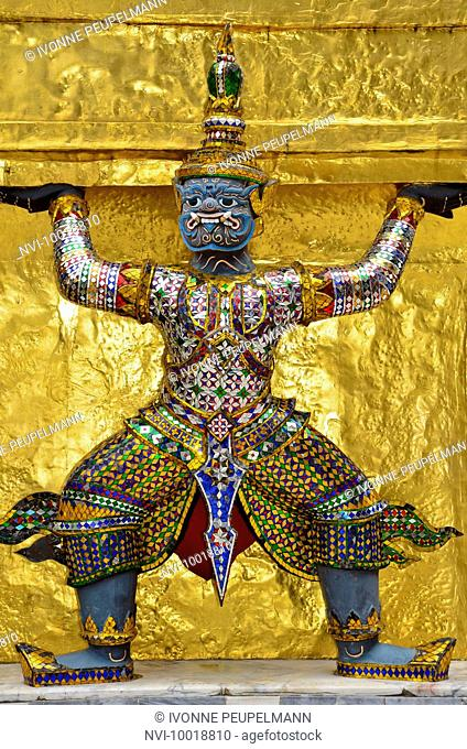 Caryatid sculpture in front of Gold Chedi at the temple of the Emerald Buddha Wat Phra Kaeo, Grand Palace, Bangkok, Thailand, Southeast Asia