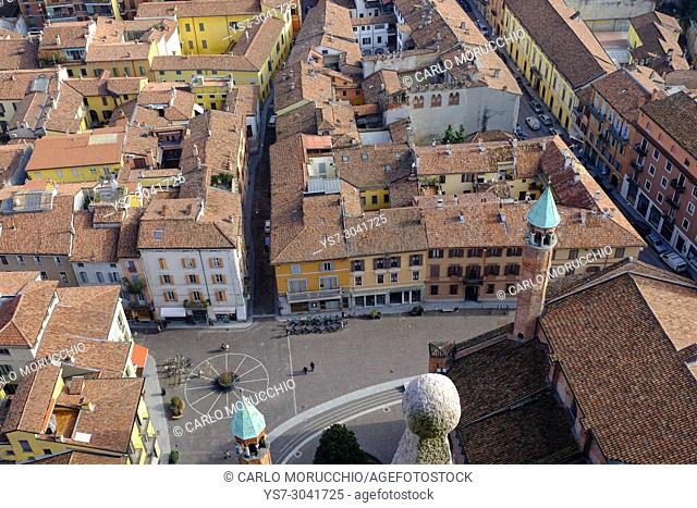 View of Cremona from the Torrazzo, the bell tower of the Cathedral of Cremona, Lombardy, Italy