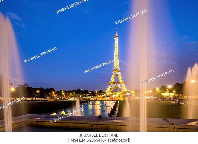 France, Paris, area listed as World Heritage by UNESCO, the illuminated Eiffel Tower (SETE © illuminations Pierre Bideau-) to the Trocadero gardens