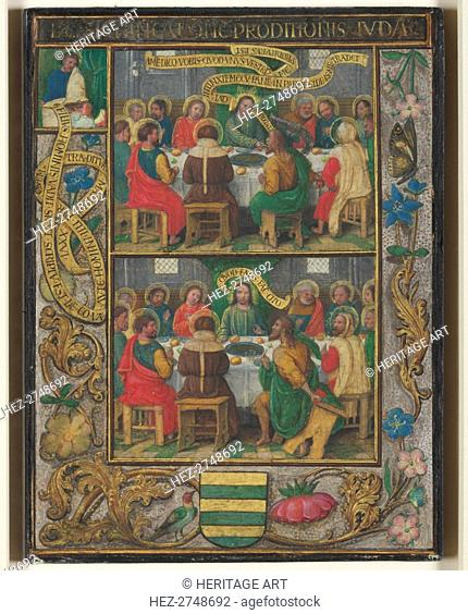 Single Leaf with Scenes from the Last Supper, c.1525-1530. Creator: Simon Bening (Flemish, 1483-1561)