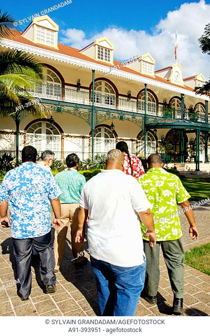 Papeete the Presidential building, Oscar Temaru bodyguards passing by. Tahiti island. French Polynesia. South Pacific