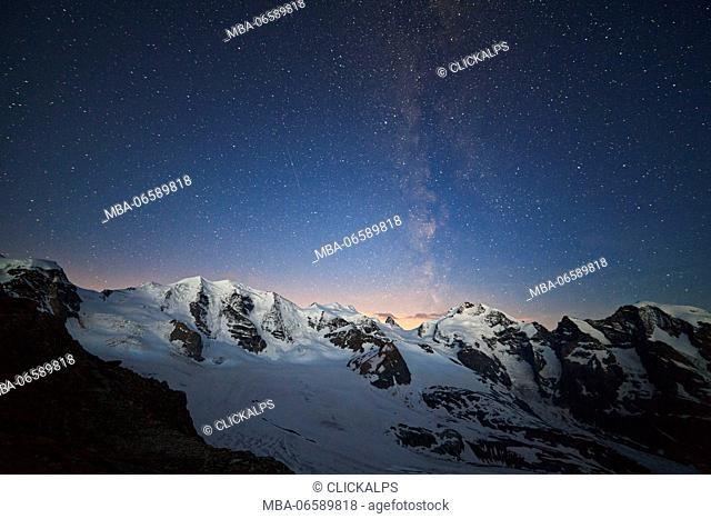 Bernina Group, Rhaetian Alps, Switzerland, Milky Way on Bernina, from Diavolezza refuge