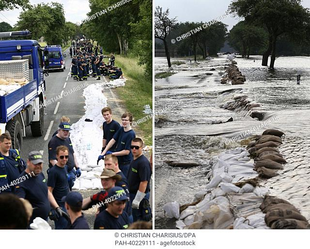 A composite image made of two pictures shows members of the Federal Agency for Technical Relief building a dam made of sandbags at a highway between Wulkau and...