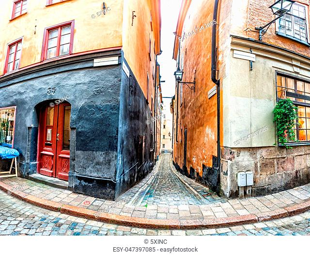 Narrow street in Stockholm Old Town, Sweden. Panoramic montage from 5 HDR images