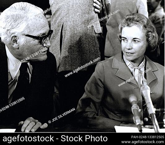 Judge Sandra Day O'Connor, right, of the Arizona Court of Appeals, United States President Ronald Reagan's nominee as Associate Justice of the Supreme Court to...