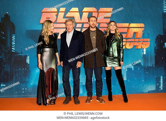 'Blade Runner 2049' photocall in London Featuring: Sylvia Hoeks, Harrison Ford, Ryan Gosling, Ana De Armas Where: London