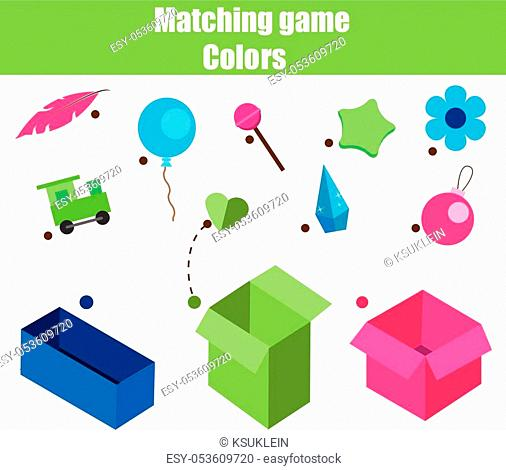 Educational children game. Matching game worksheet for kids. Match by color. Sorting objects for toddlers
