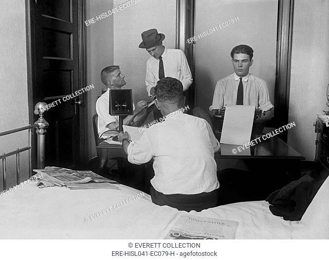 Newsmen in a 'Press Room' at the Willard Hotel after the death of President Warren Harding. The landmark Washington, D.C