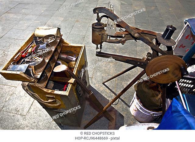 High angle view of a shoe making machine, HohHot, Inner Mongolia, China