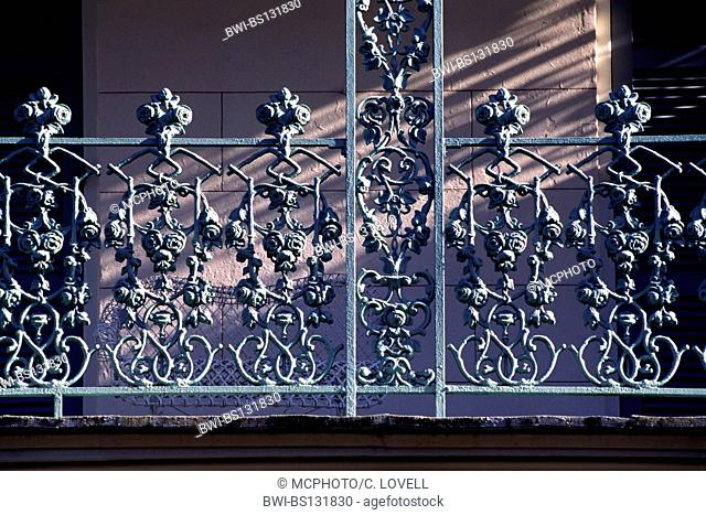 Detail of intricate WROUGHT IRON BALCONY RAILING in the FRENCH QUARTER, USA, Louisiana, New Orleans