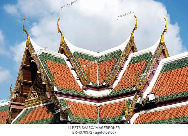 Tiled roof of Royal Pantheon at Wat Phra Kaew, Temple of Emerald Buddha, Grand Palace, Bangkok, Thailand