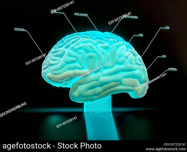 artificial intelligence brain simulation - deep learning Ai concept - 3D Rendering