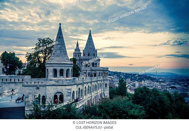 Fisherman's Bastion at dusk, Hungary, Budapest