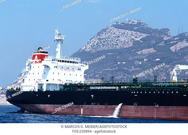 Gas tanker anchored. Gibraltar rock in the background