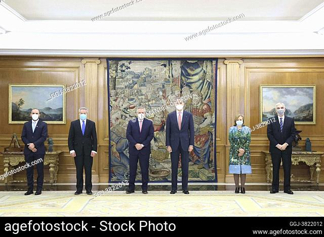 King Felipe VI of Spain, Alberto Fernandez, Agentina President attend a meeting at Zarzuela on May 11, 2021 in Madrid, Spain