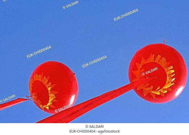 Balloons and Chinese banners